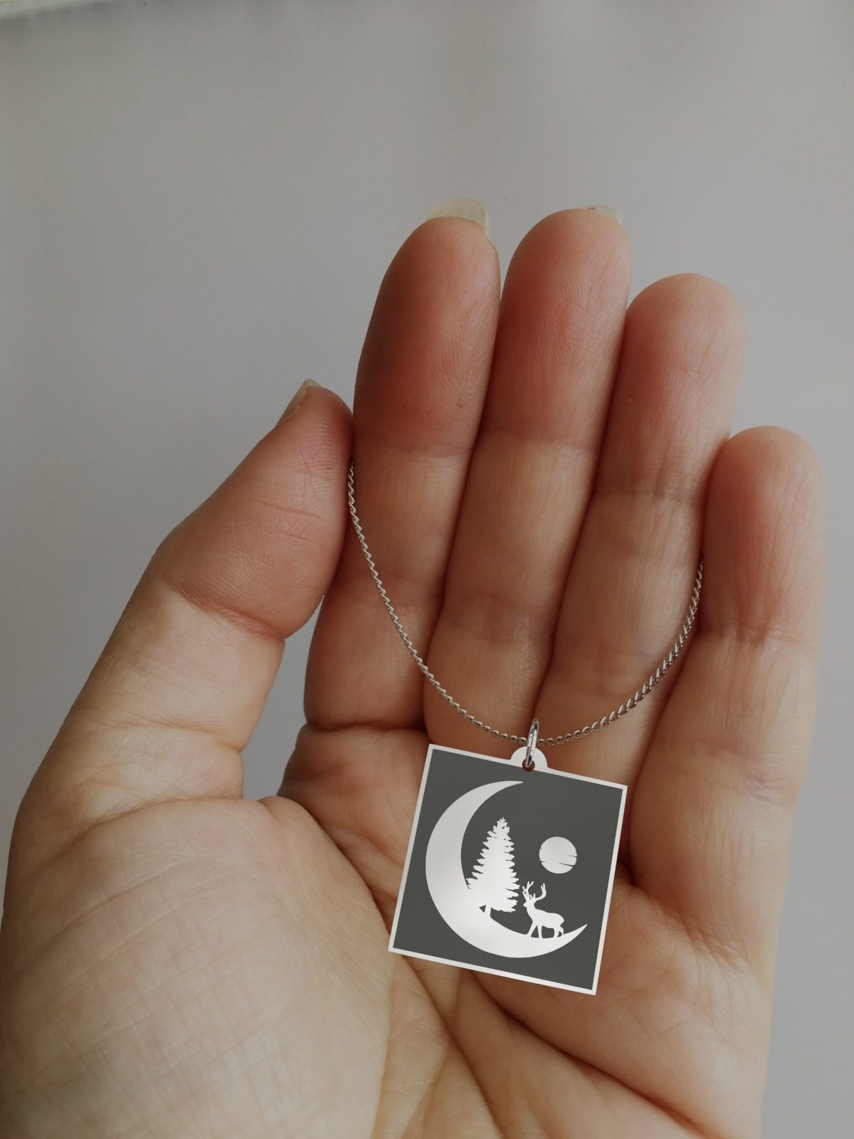 Moon Silhouette With Deer Casual Necklace