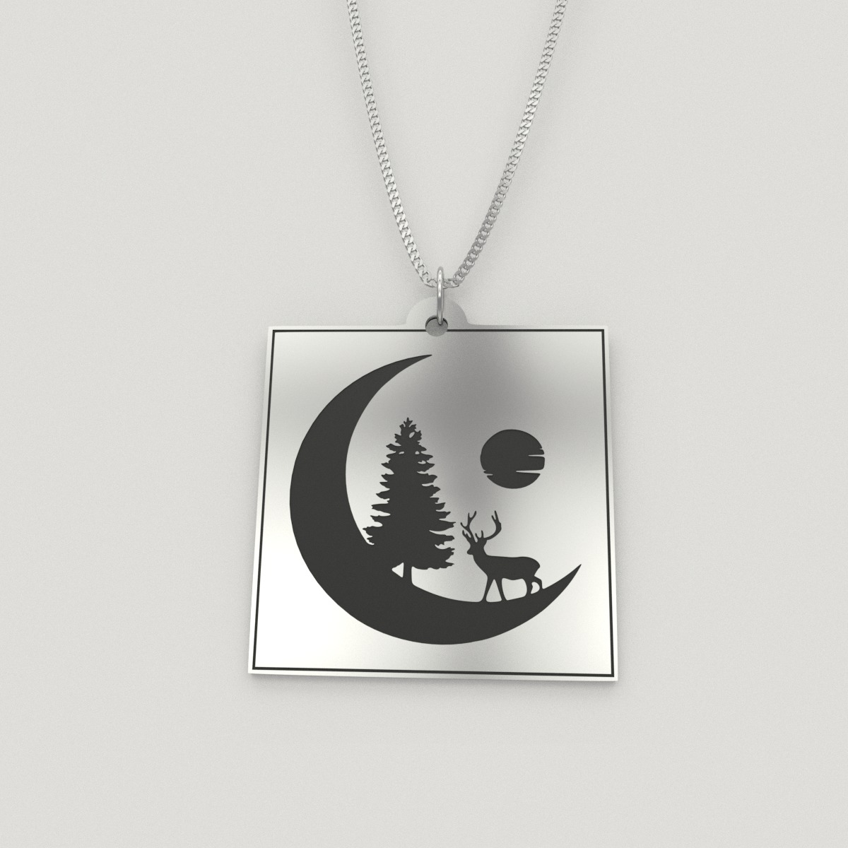 Moon Silhouette With Deer Charm Necklace