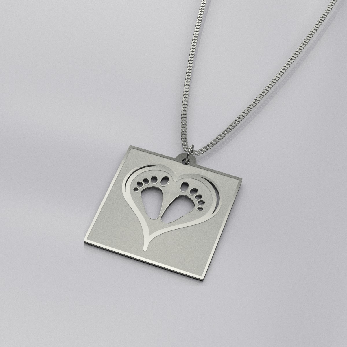 Engraved Baby Footprint Charm Necklace