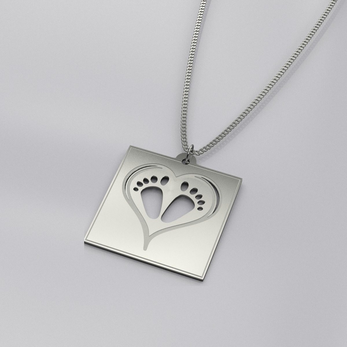 Engraved Baby Footprint Casual Necklace