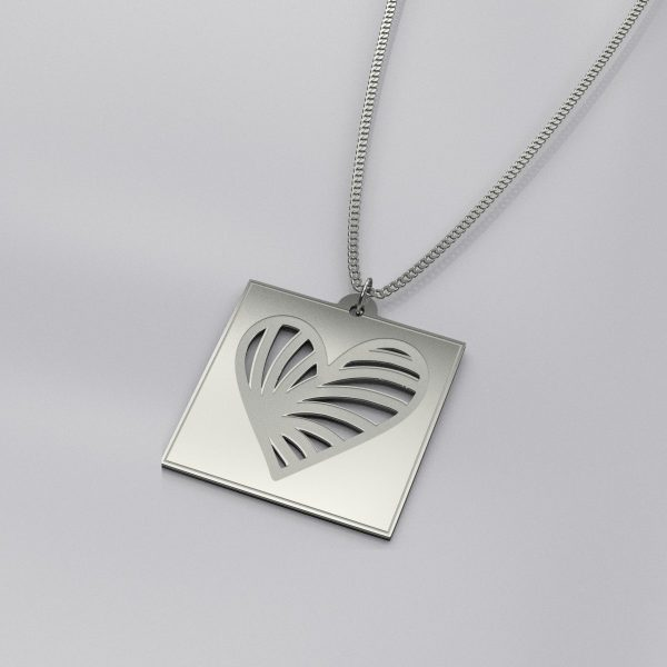 Engraved Heart Casual Necklace