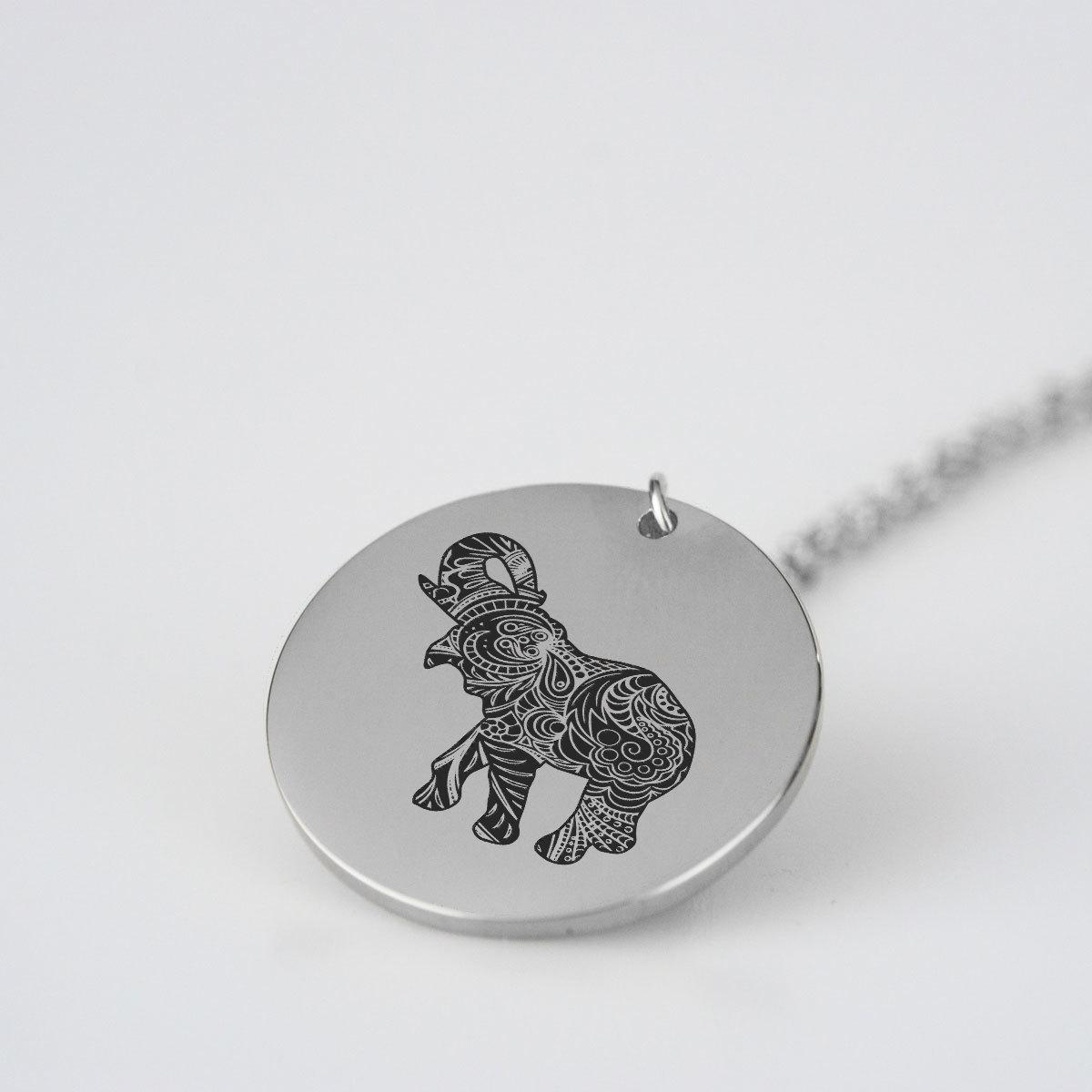Elephant Silhouette Charm Necklace