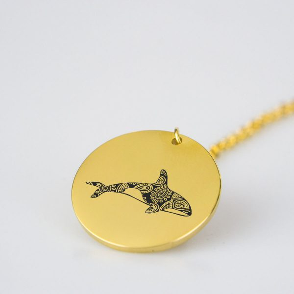 Killer Whale Silhouette Charm Necklace