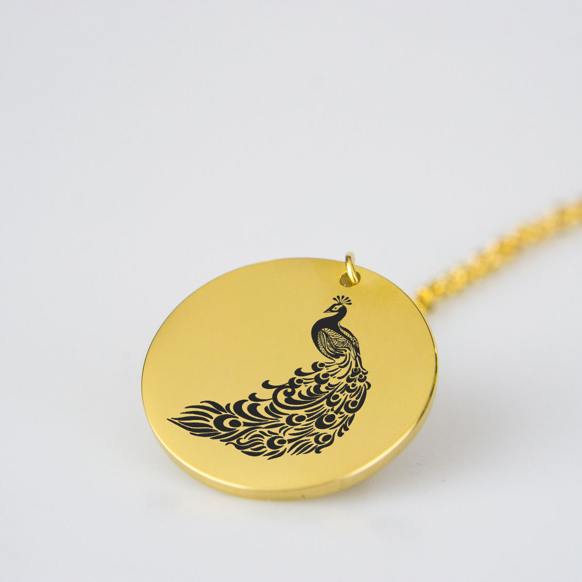 Engraved Peacock Charm Necklace