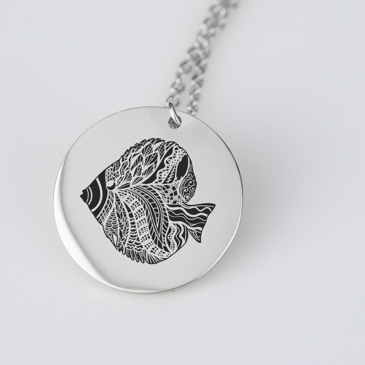 Angel Fish Silhouette Charm Necklace