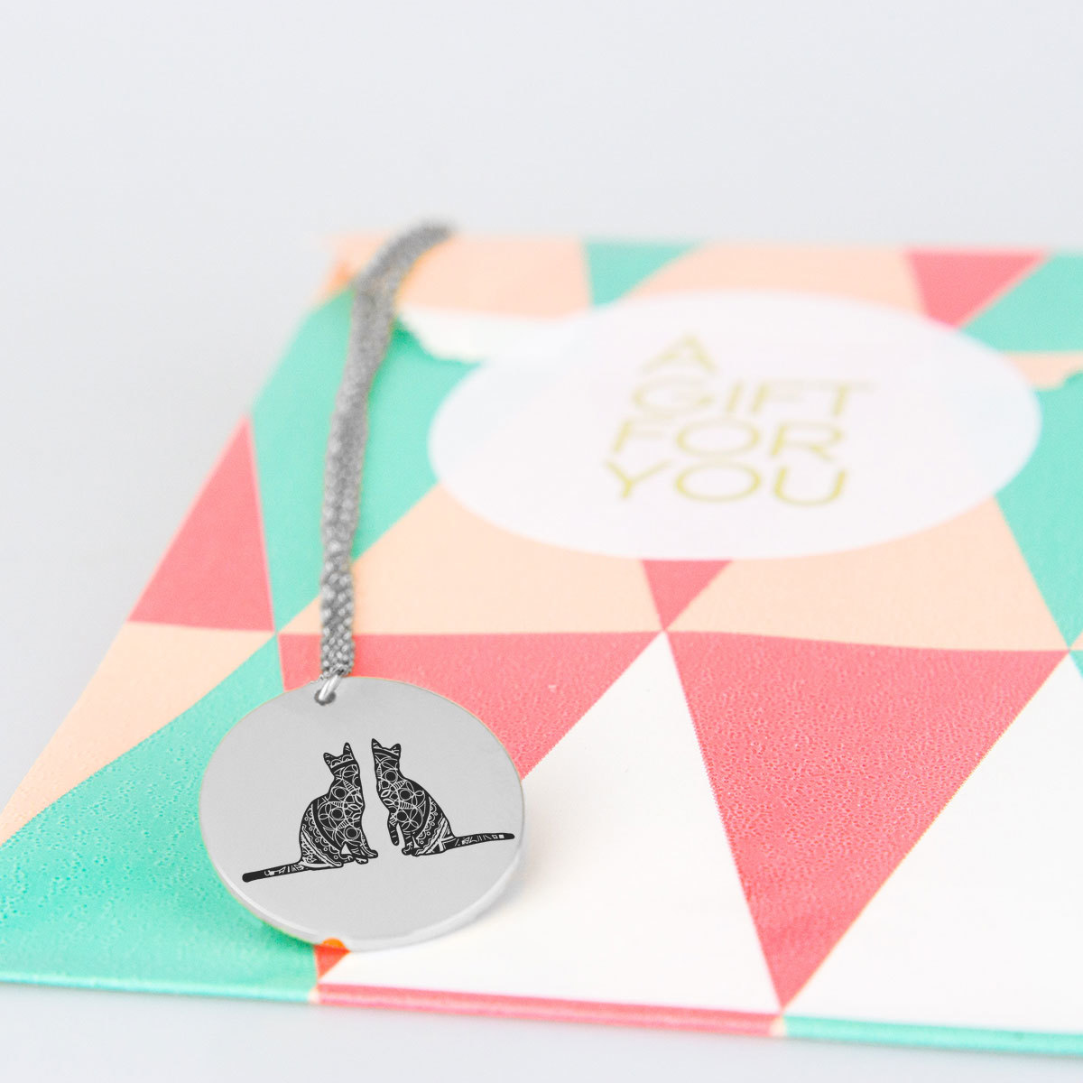 Pretty Twin Cats Charm Necklace