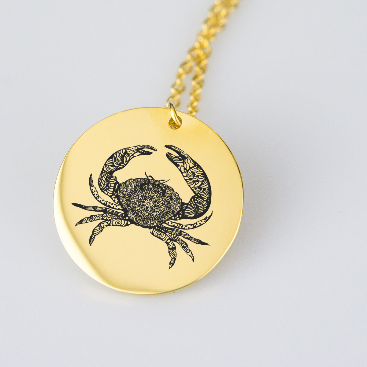 Engraved Crab Charm Necklace