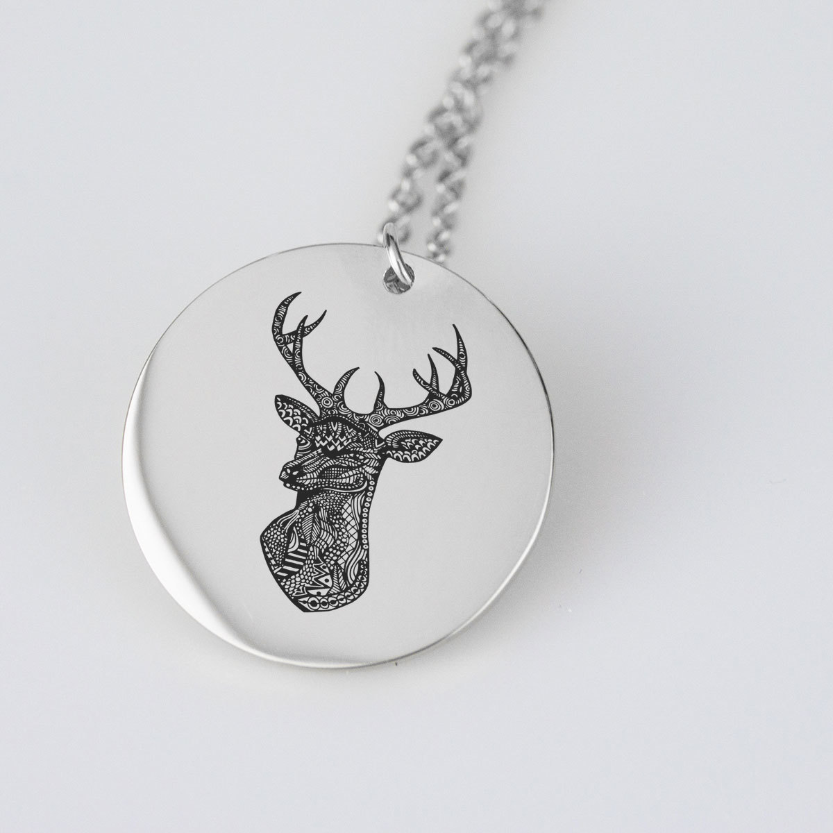 Lovely Dear Engraved Charm Necklace