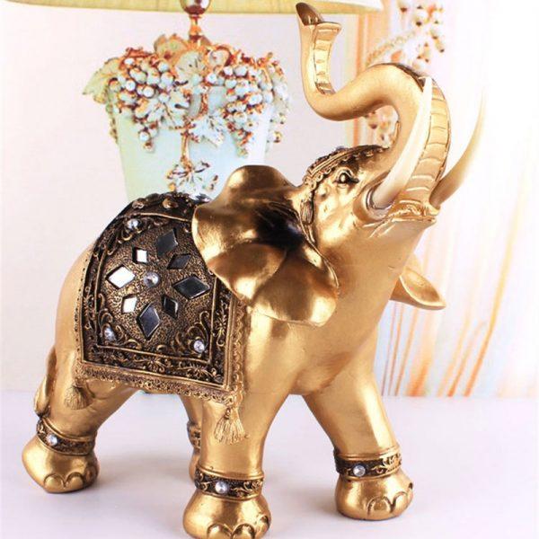 Lucky Golden Resin Elephant Statue