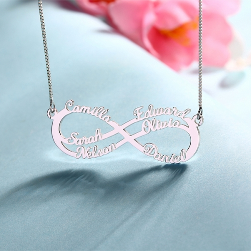 Personalized Five/Six Names Necklace Silver