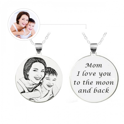 Personalized Photo Engraved Silver Necklace