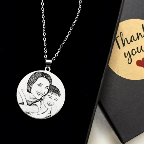 Personalized Photo Engraved Necklace Titanium Steel