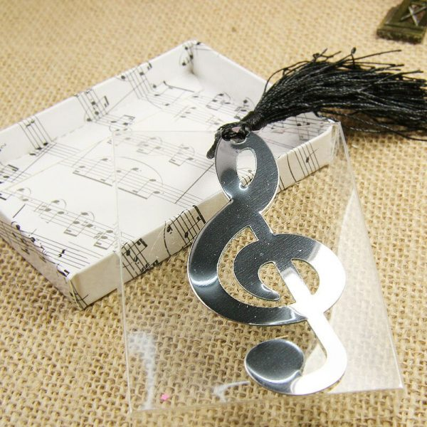 New Hollow Musical Notes Bookmarks Metal With Mini Greeting Cards Tassels Pendant Gifts Wedding Favors With Retail Box Novelty 1