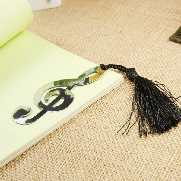 New Hollow Musical Notes Bookmarks Metal With Mini Greeting Cards Tassels Pendant Gifts Wedding Favors With Retail Box Novelty