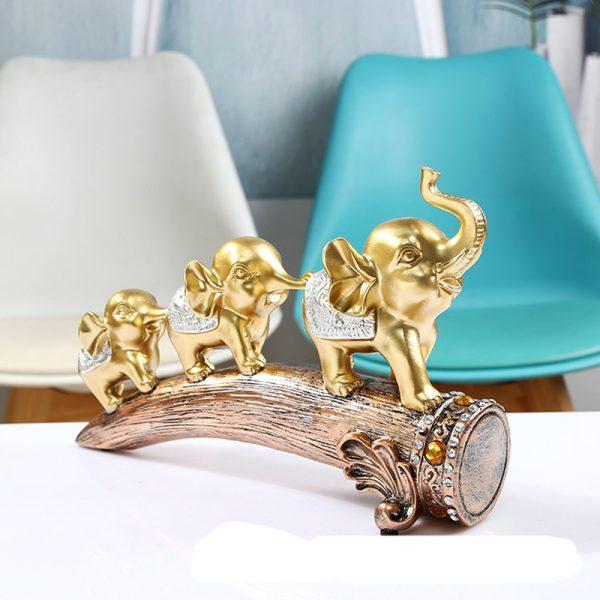 Beautiful Gold Elephant Resin Statue