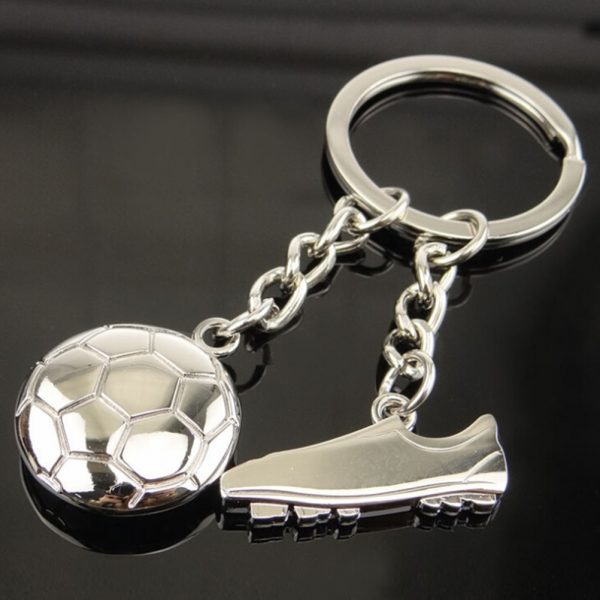 Football And Boot Metal Keychain