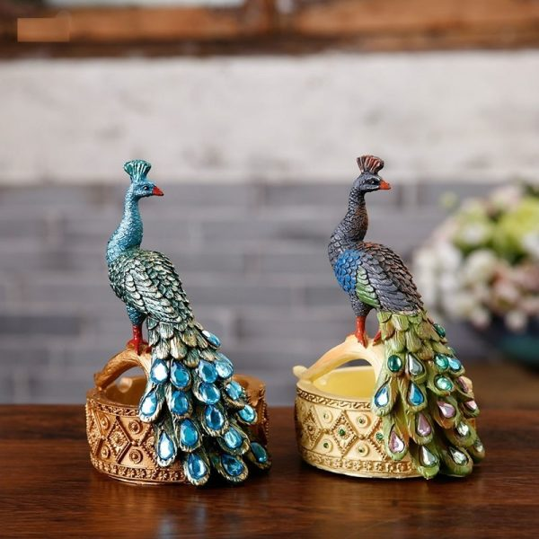 Colorful Peacock Resin Statue Ashtray