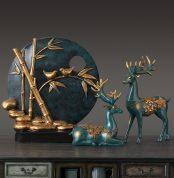 Nordic Lucky Deer Round Birds Figurine Home Furnishing Decoration Crafts Modern Livingroom Desktop Creative Resin Ornament Decor 1